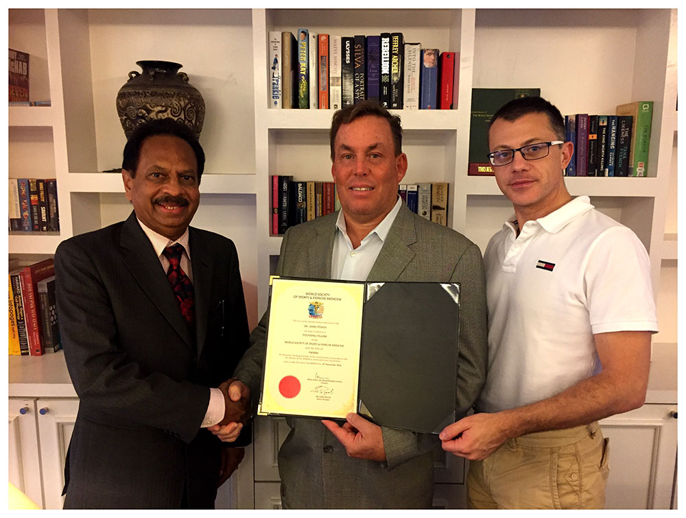 Dr James Stoxen DC FSSEMM Hon Team Doctors honorary Fellowship of the World Society of Sports and Exercise Medicine 2016