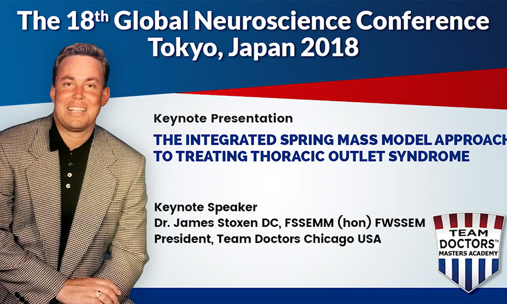 Dr James Stoxen DC FSSEMM Hon Team Doctors 18th Global Neuroscience Conference in Tokyo Japan 2018
