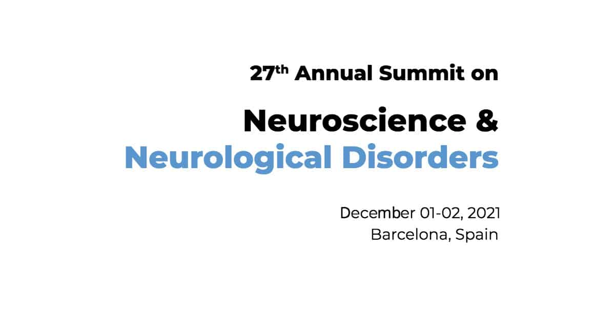 Dr James Stoxen DC., FSSEMM (hon) has been invited to speak at the z 27th Annual Summit on Neuroscience & Neurological Disorders in Barcelona, Spain on December 01-02, 2021